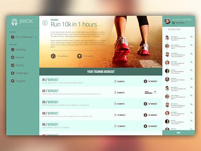 Jiwok - workout page flat user interface ui running music sport