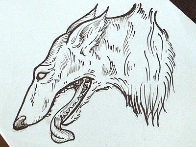 Borzoi tattoo design etching black work borzoi dog