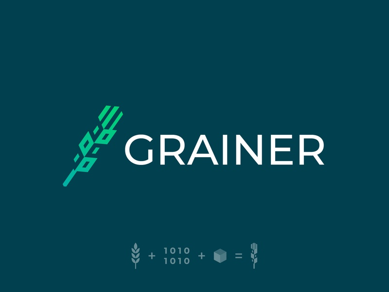 Grainer Logo Version 1 business custom inspiration visual artist marketing mark brand security cube binary binary codes grain cryptocurrency blockchain create startup green colour clean logos icons color ideas branding