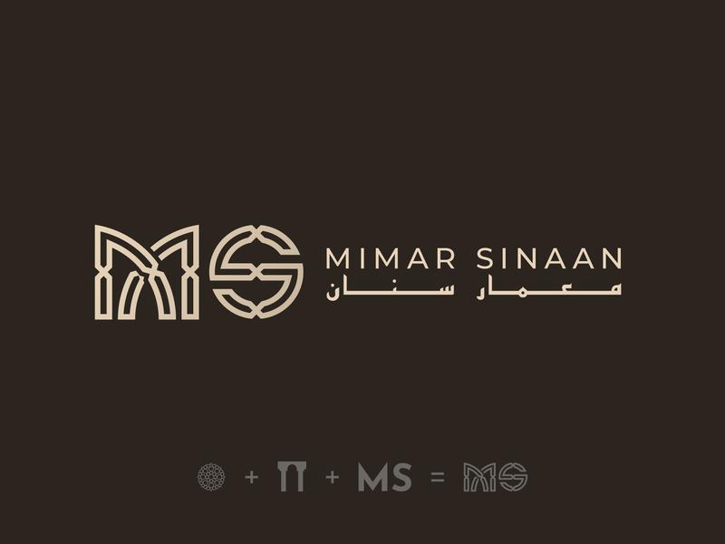 Mimar Sinaan - Logo Design Version 1 logo mark creative logos clever logo type logo typography pattern outlined icon architecture logo architecture pillars geometric islamic design branding