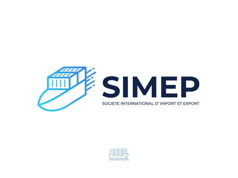 SIMEP Logo Design Concept 2 minimal modern brand identity mark illustration branding design creative logo package products shipping container delivery air sea shipping ship import export