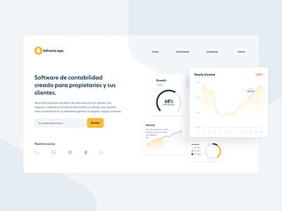 Billvoice.app - Juniors Academy desktop ui charts website hero section