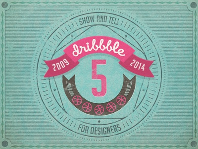 Dribbble 5 Years birthday emblem dribbble card rebound 5 years badge 5
