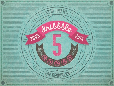 Dribbble 5 Years birthday emblem dribbble card rebound 5 years badge 5