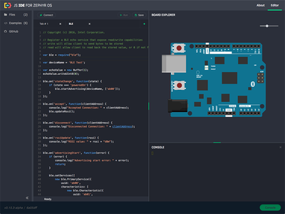 Js Ide For Zephyr Os board interaction interface ui ide editor javascript intel