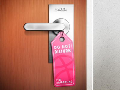 Do not disturb [I'm dribbbling] dribbble hotel door metal wood tag do not disturb