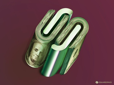 Squarespace Commerce icon rolled money squarespace commerce squarespace dollars commerce illustration