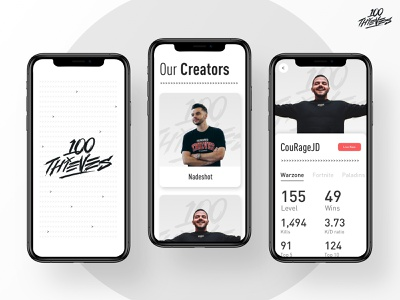 100 Thieves Concept couragejd couragejd nadeshot esports clean mobile app design games gaming design ios minimal ux ui product app