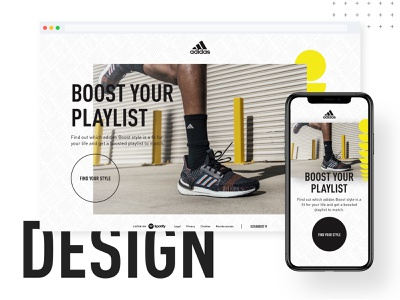 adidas Boost trainers sneakers clean spotify campaign web design ux ui adidas