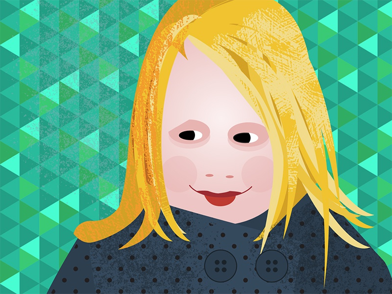 Portrait Charlotte avatar daughter icon hair blond pink green smile portrait