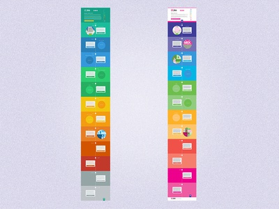 Timeline layouts layout flat colors iminds magenta css html illustrations responsive html5 css3