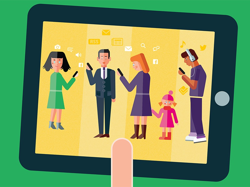 Profiles screen yellow touch profiles segments report mobile users print illustration ipad tablet