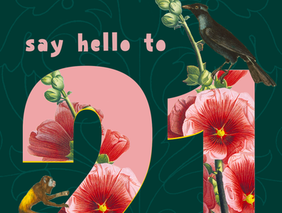 Happy Newyear card happynewyear family green darkgreen sayhello wishes card monkey pink bird photoshop collage flowerstyle flower newyear 2021