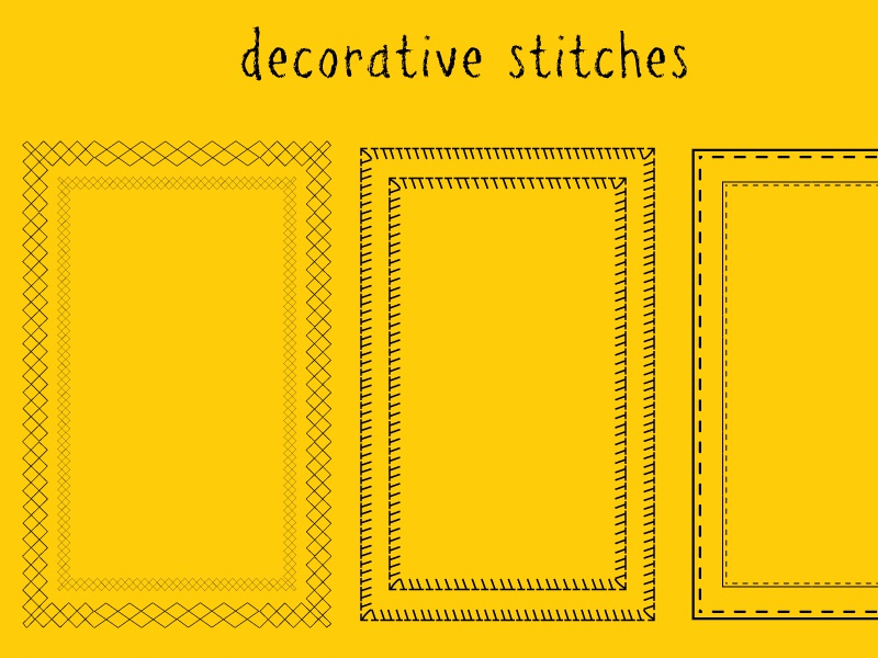 Decorative stitches creative market for sale illustrator vector sew sewing stitches yellow pattern patterns