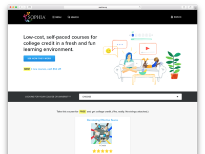 Sophia online learning responsive illustration