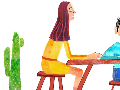 Detail WIP handdrawn procreate conflict discuss conversation table yellow female illustration artwork cactus wip