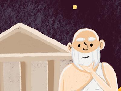 Philosopher illustration ui learning university education online learning philosophy ancient athens greek socrates philosopher