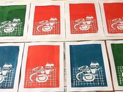 Breakfast screenprint artwork graphicdesign illustration composition colors creative zeefdruk seamlesspattern paper diy screenprint ink