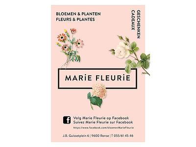 Marie Fleurie Print print ad print leafs facebook gifts plants planten bloemen local logodesign logo paper advertisement flowershop flower