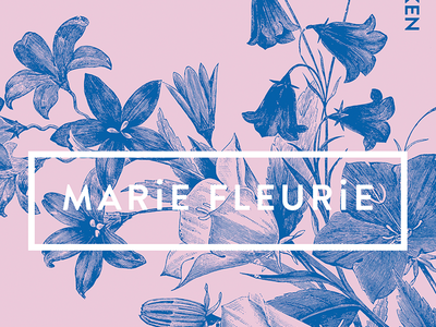 Marie Fleurie florist poster art direction design art direction duotones duotone pink blue digital branding branding flowers postcard florist poster