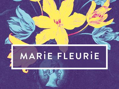 Marie Fleurie florist poster advertising flower art yellow blue digital branding duotones duotone poster postcard florist flowers art direction branding