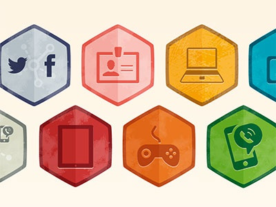 Icons for Digimeter icons report illustration green red pink blue orange yellow beige vector