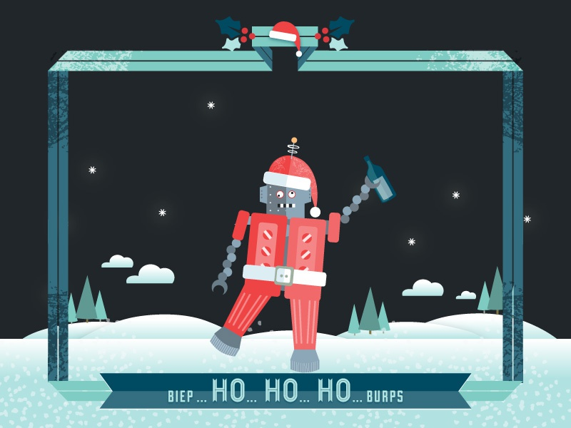 Robot Final robot snow winter christmas flat red green dark drunk vector illustration ribbon white