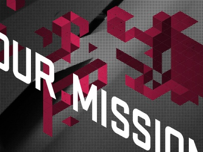 Our Mission isometric grid geometry mission floating abstract cta call to action