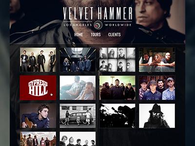 Velvet Hammer web design ui interface music layout ux
