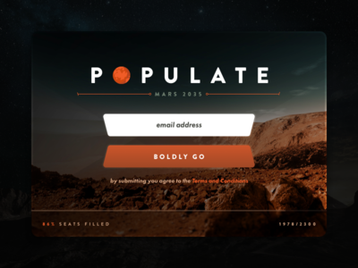 Sign Up ui ux exploration space mars web form signup dailyui