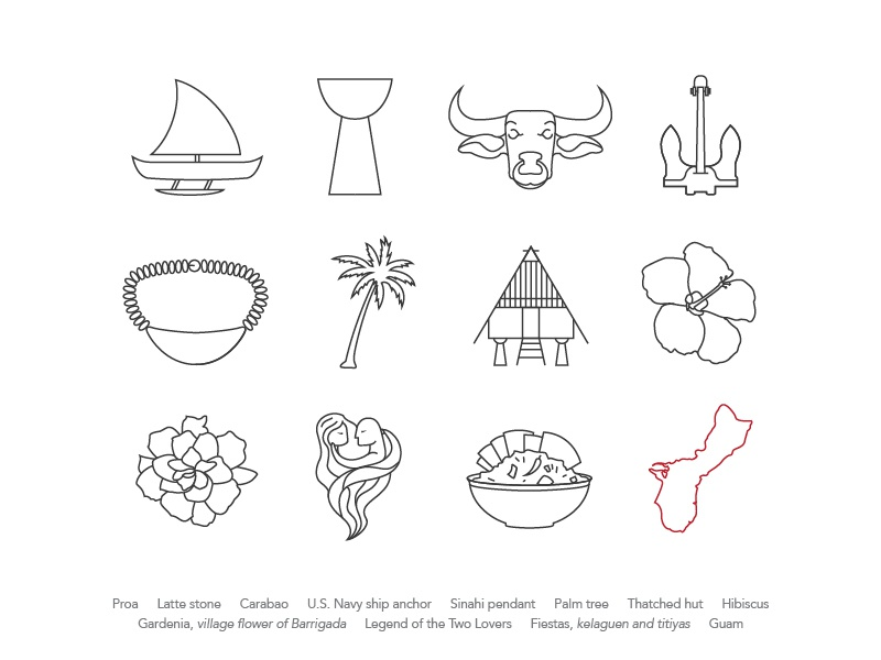 Pacific Islander-American Icon Set icon set may micronesia heritage tropical line 2d flat icon
