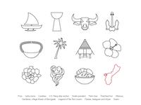 Pacific Islander-American Icon Set