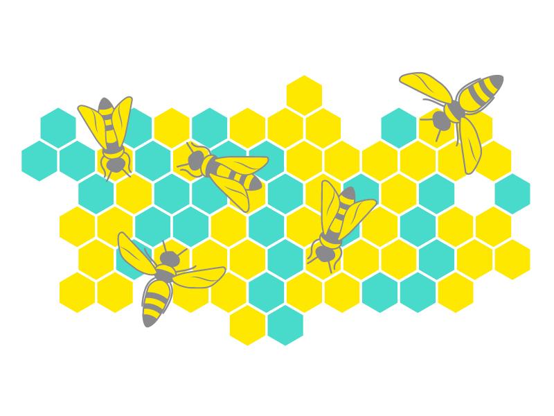 Buzz illustration bee flat 2d vector marketing