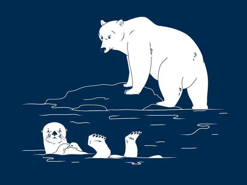 Bear And Otter 2d vector illustration wildlife animals aquarium zoo otter bear