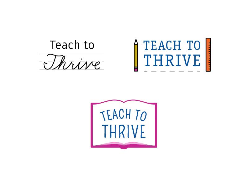 Thrive Logos think learn sketch logo school