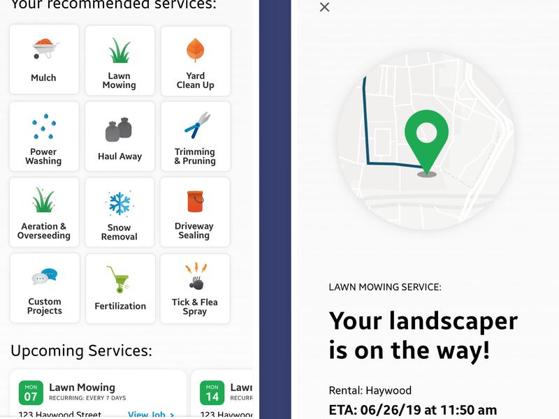 Landscaping App Screens app design ui