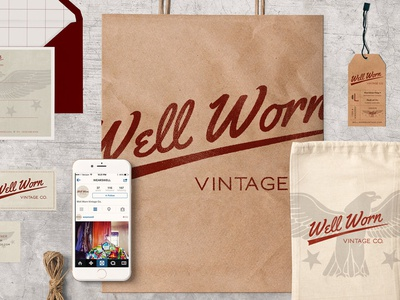 Well Worn Vintage Co. Store Collateral business card design package design logo branding design