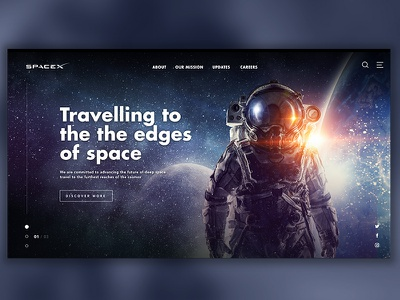 SpaceX website concept web homepage ui user interface sketch spacex