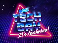 FINN Tech Day logo neon retrofuturism tech finn chrome retro