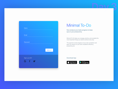 Daily UI Challenge: Day 3 - Sign Up Page sign up page play store app store minimalistic minimal to do daily ui challenge day 3 web site user experience design user interface design ux ui