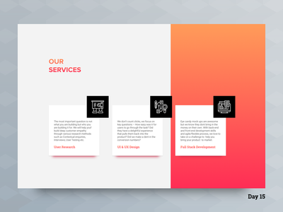 Daily UI Challenge: Day 15 - Services Section UI front end development full stack development ui  ux design user research services module website daily ui challenge web app user experience design user interface design ux ui