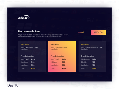 Daily UI Challenge: Day 18 - DTH Pack Recommendations Screen