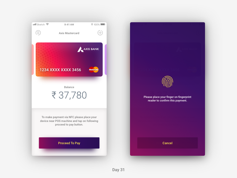 Daily UI Challenge: Day 31 - NFC Payment App by Mayur