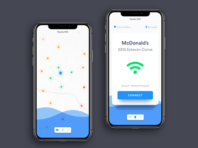 Daily UI Challenge: Day 94 Nearby Network Finder App iphone x ios freebies free wifi network finder app wifi ux ui interaction design ux design ui design daily ui challenge