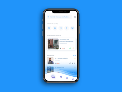 Daily UI Challenge: Day 95 Doctor & Hospital Finder App yellow pages health olx searching app hospital doctor interaction design ux design ui design daily ui challenge