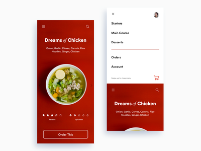 Daily UI Challenge: Day 98 Food Ordering App chinese soup chicken minimalistic iphonex ecommerce online food delivery food ordering app interaction design ux design ui design daily ui challenge