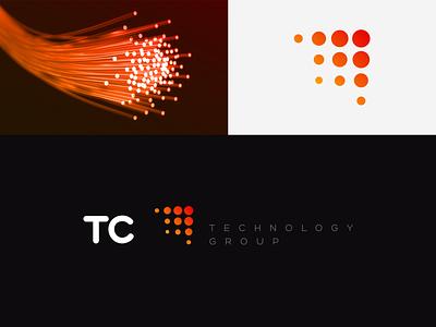 Branding TC Technology Group layout icon gradient technology optical fiber logo design branding