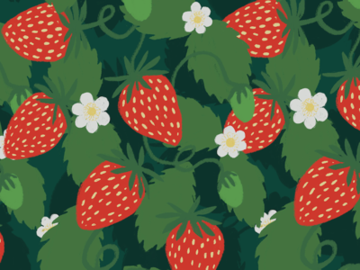 Strawberries illustration spring surface design pattern fruit strawberry
