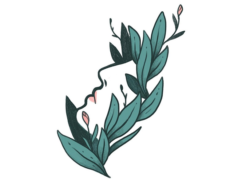 Slow Growth sticker flower leaf calm plant woman sketchbook foliage icon illustration
