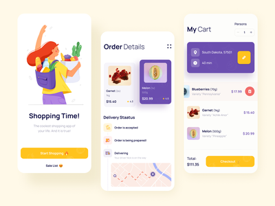 Delivery App fruits order shopping app shopping food app food app mobile delivery app delivery illustration mobile app dashboard clean